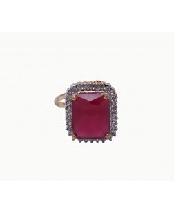 Exotical Red Crystal Dashing Jewellery Adjustable Ring for Women & Girls