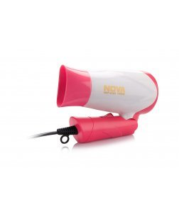 Nova NHP-8104 1400 Watts Hot and Cold Foldable Hair Dryer (White/Pink)